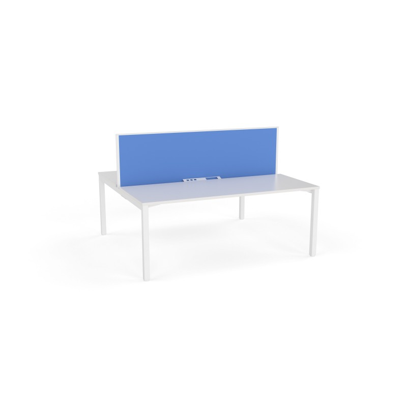 Axis Fixed Height Double Sided 2 User Desk with Fabric Screen